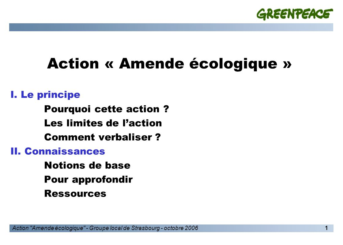 Action Amende écologique - Groupe local de Strasbourg - octobre 20062 I.