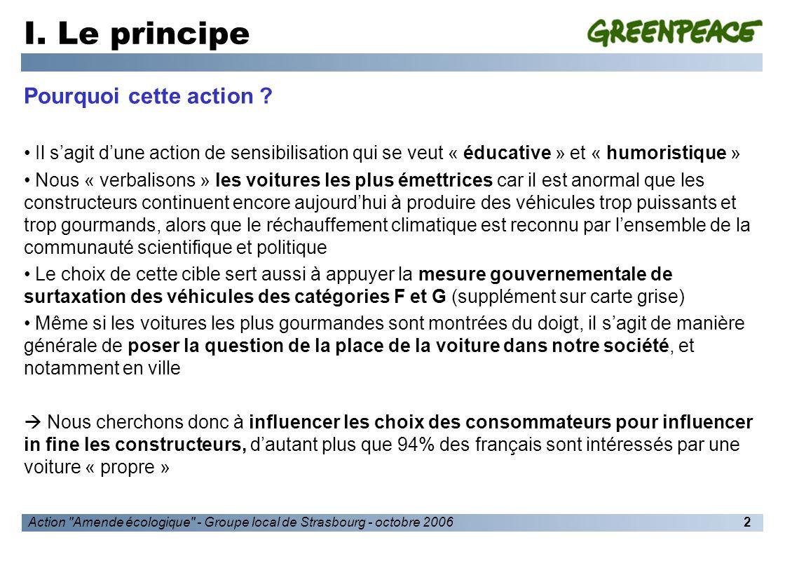 Action Amende écologique - Groupe local de Strasbourg - octobre 20063 I.