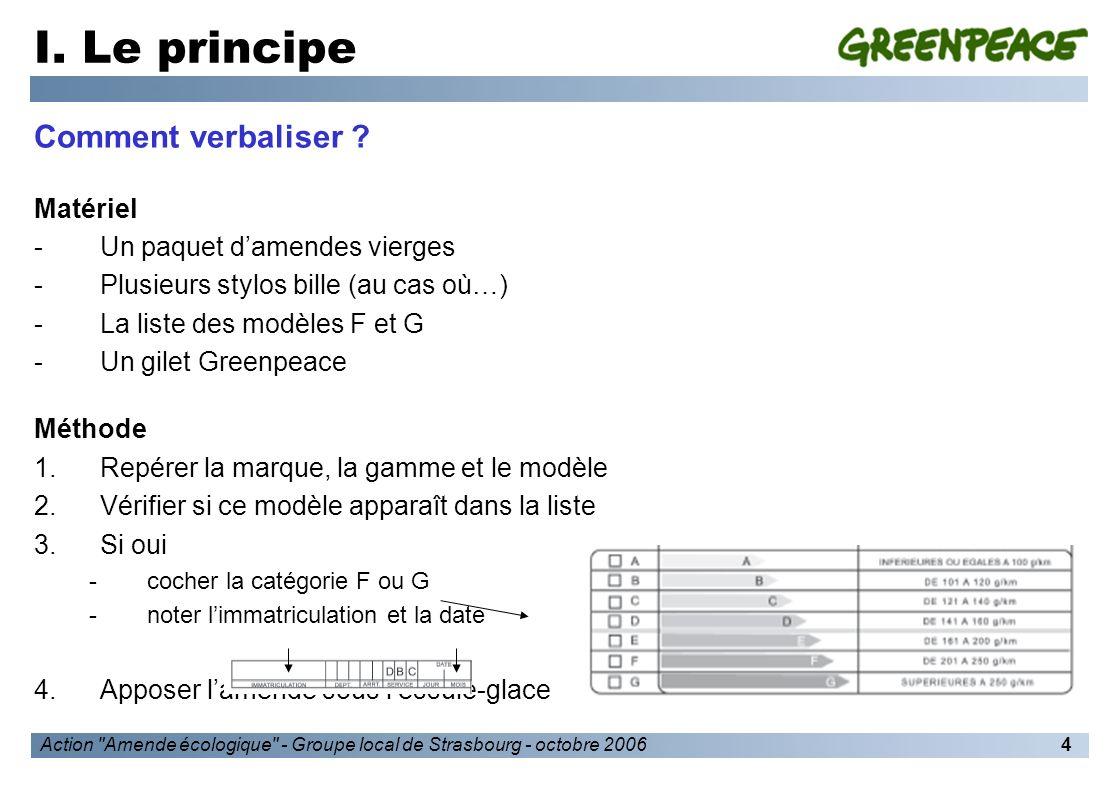 Action Amende écologique - Groupe local de Strasbourg - octobre 20065 I.