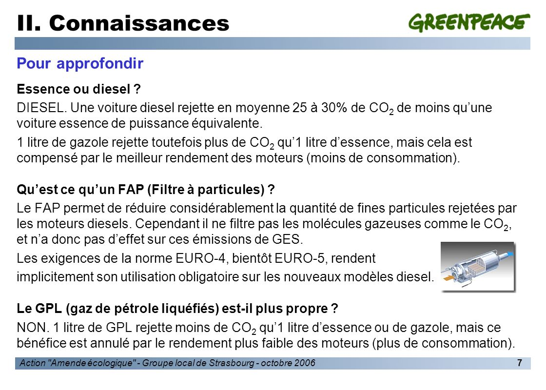 Action Amende écologique - Groupe local de Strasbourg - octobre 20068 II.