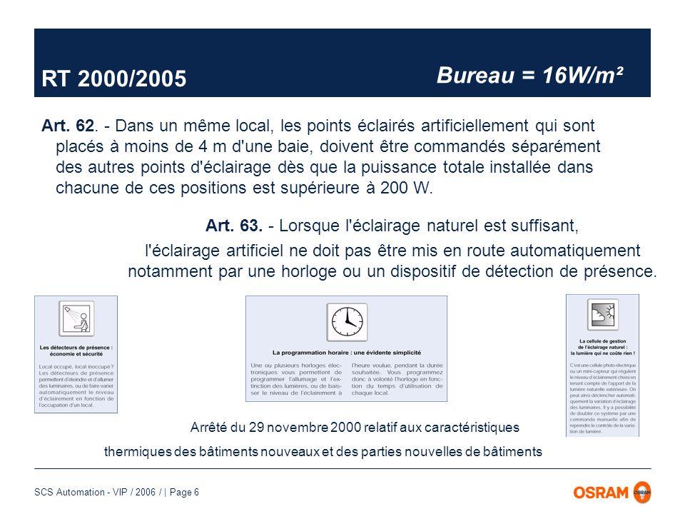 SCS Automation - VIP / 2006 / | Page 7 Prise en compte de lapport en lumière naturelle Lumière naturelle Extinction Gradation Pleine puissance Eclairage global = Lumière naturelle + lumière artificielle Lumière artificielle Niveau déclairement Largeur du local FaçadeFaçade RT 2000/2005