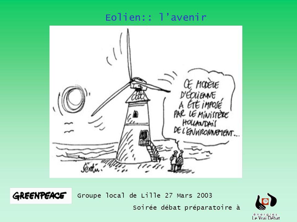 Eolien:: lavenir Groupe local de Lille 27 Mars 2003 Soirée débat préparatoire à