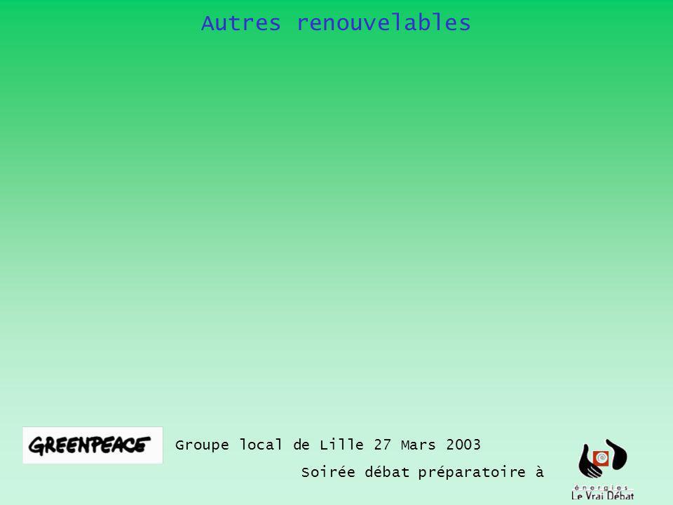 Autres renouvelables Groupe local de Lille 27 Mars 2003 Soirée débat préparatoire à