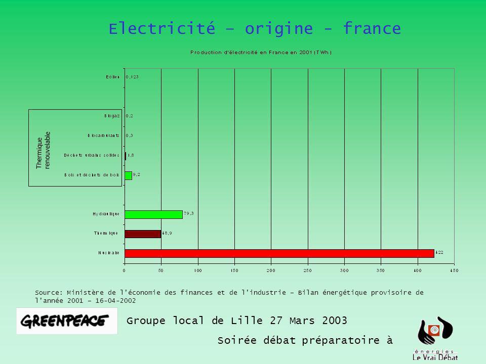 Electricité – origine - france Groupe local de Lille 27 Mars 2003 Soirée débat préparatoire à Source: Ministère de léconomie des finances et de lindus
