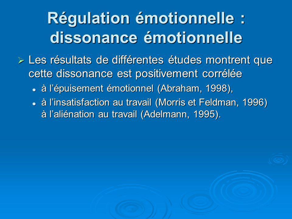Régulation émotionnelle : dissonance émotionnelle Les résultats de différentes études montrent que cette dissonance est positivement corrélée Les résu