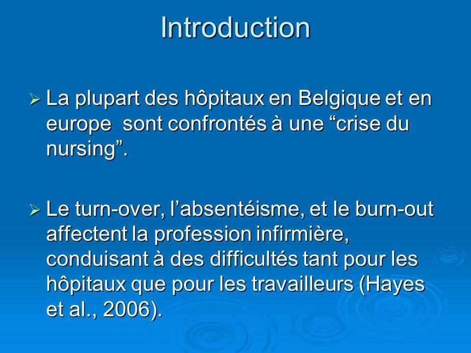 Introduction La plupart des hôpitaux en Belgique et en europe sont confrontés à une crise du nursing. La plupart des hôpitaux en Belgique et en europe