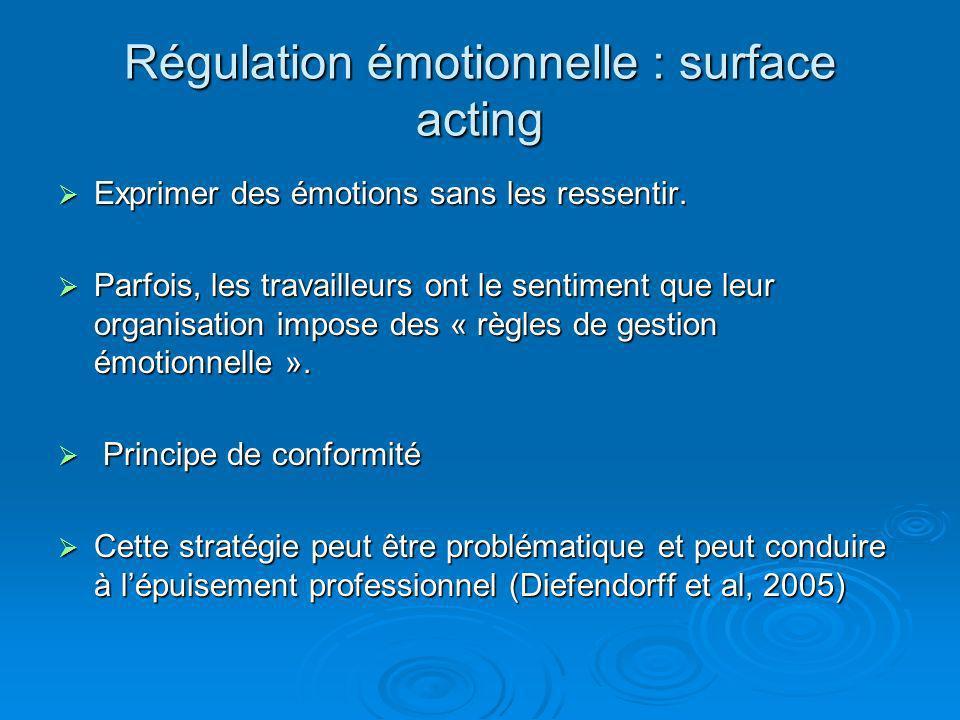 Régulation émotionnelle : surface acting Exprimer des émotions sans les ressentir. Exprimer des émotions sans les ressentir. Parfois, les travailleurs