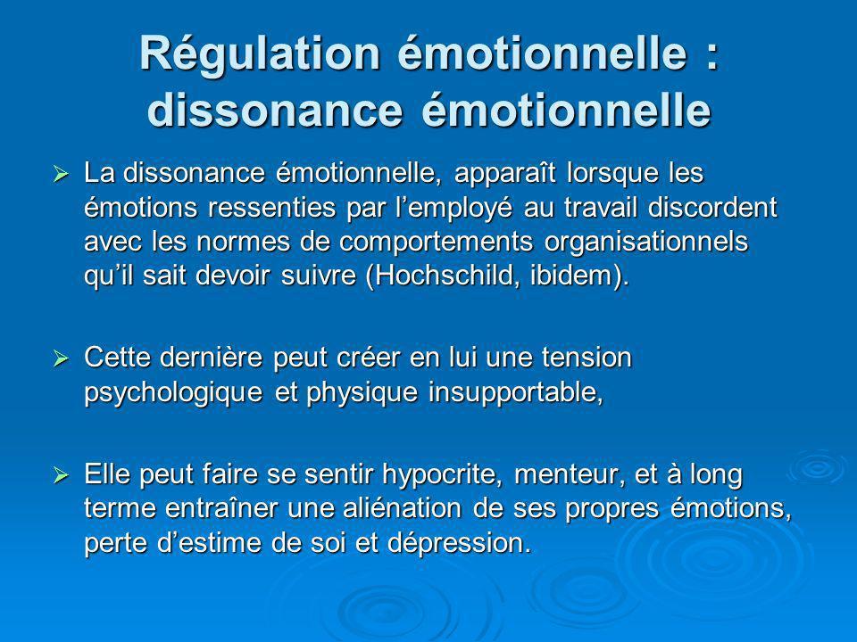 Régulation émotionnelle : dissonance émotionnelle Les résultats de différentes études montrent que cette dissonance est positivement corrélée Les résultats de différentes études montrent que cette dissonance est positivement corrélée à lépuisement émotionnel (Abraham, 1998), à lépuisement émotionnel (Abraham, 1998), à linsatisfaction au travail (Morris et Feldman, 1996) à laliénation au travail (Adelmann, 1995).