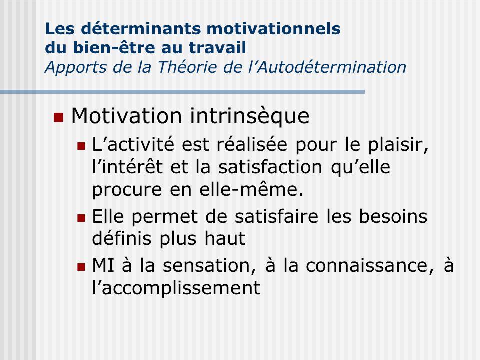 Motivation intrinsèque Lactivité est réalisée pour le plaisir, lintérêt et la satisfaction quelle procure en elle-même. Elle permet de satisfaire les