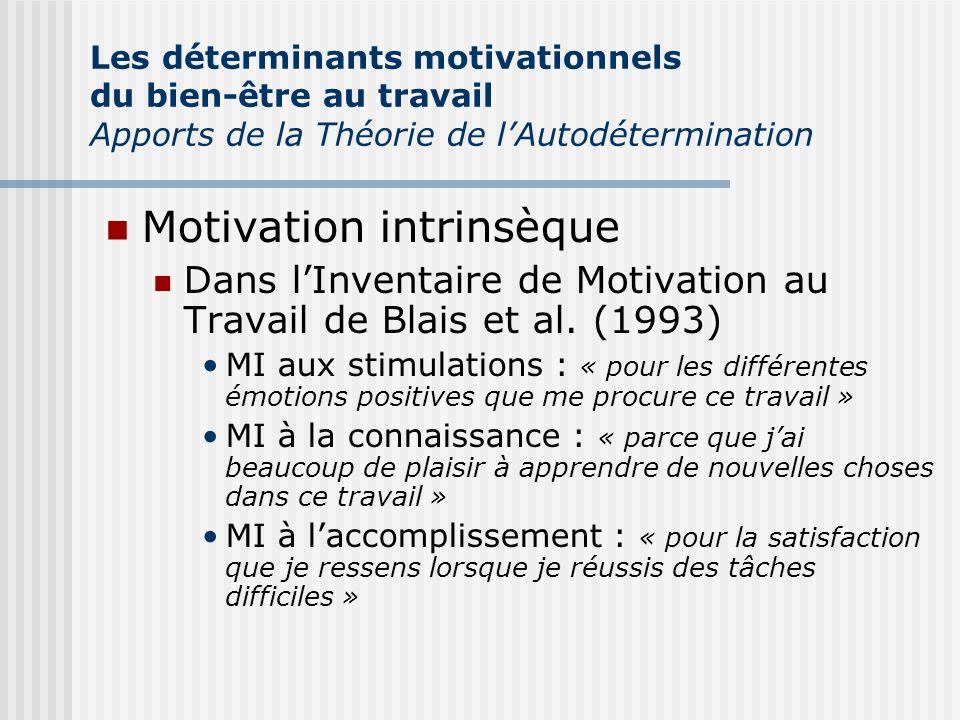 Motivation intrinsèque Dans lInventaire de Motivation au Travail de Blais et al. (1993) MI aux stimulations : « pour les différentes émotions positive