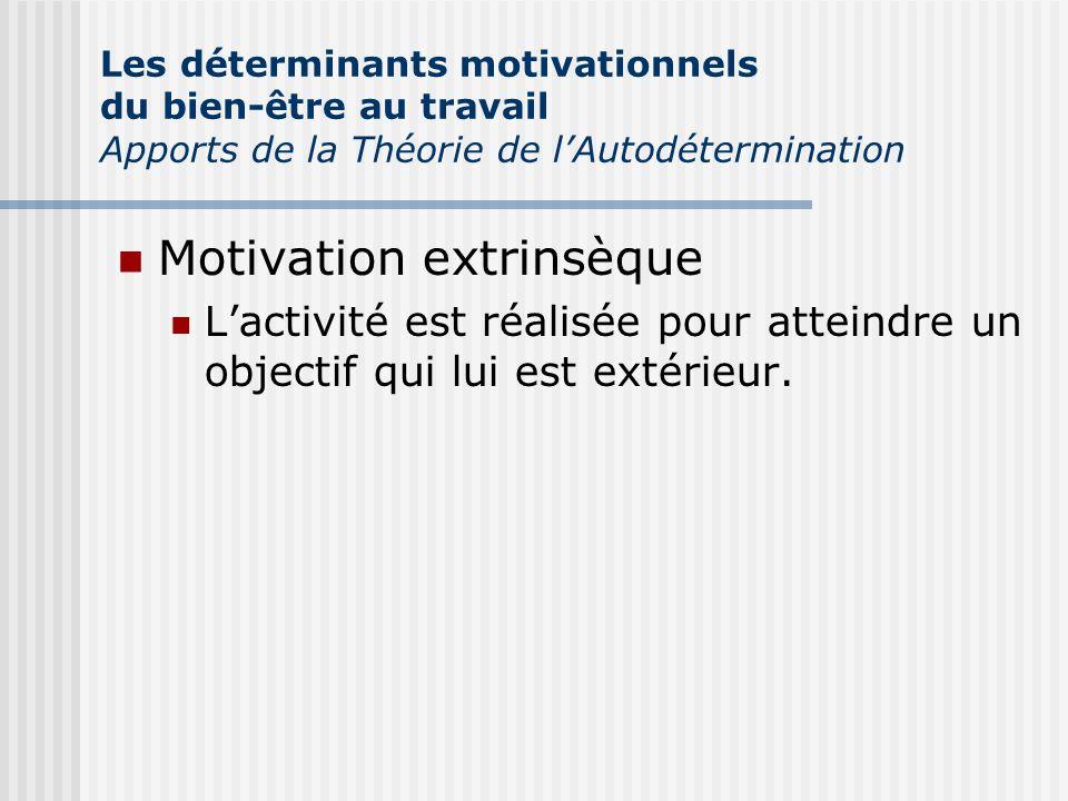 Motivation extrinsèque Lactivité est réalisée pour atteindre un objectif qui lui est extérieur. Les déterminants motivationnels du bien-être au travai