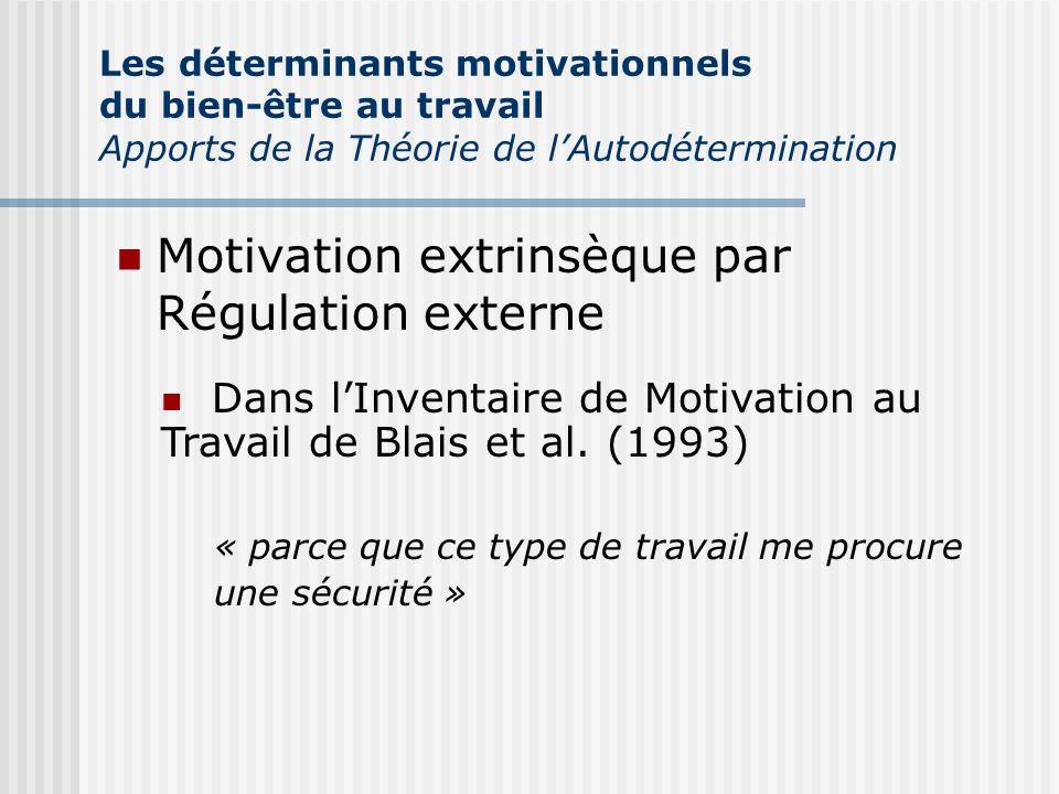 Motivation extrinsèque par Régulation externe Les déterminants motivationnels du bien-être au travail Apports de la Théorie de lAutodétermination Dans