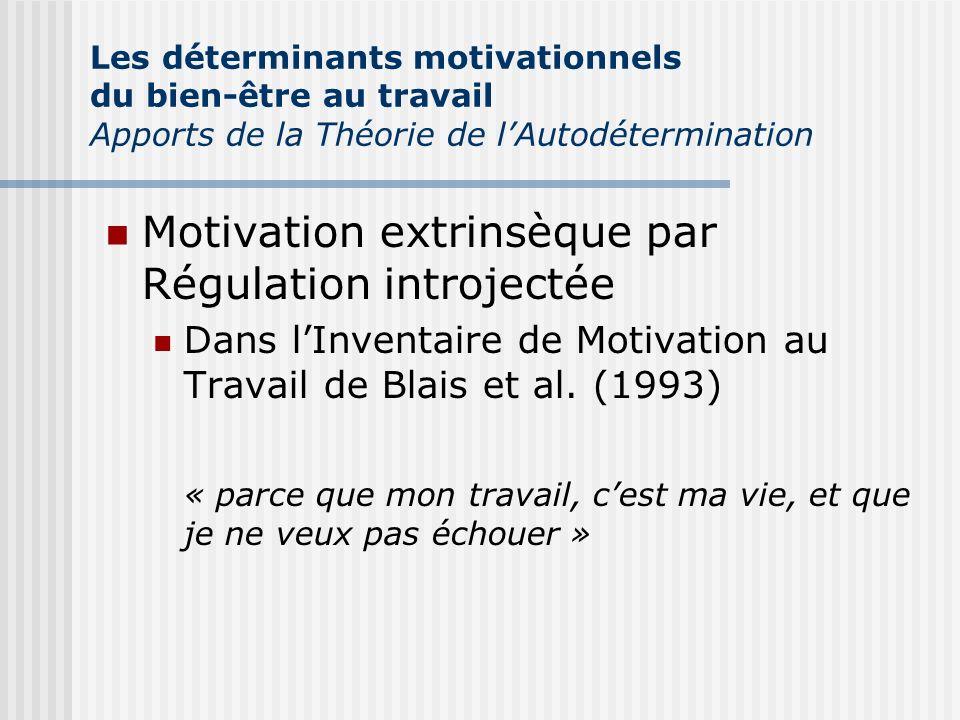 Motivation extrinsèque par Régulation introjectée Dans lInventaire de Motivation au Travail de Blais et al. (1993) « parce que mon travail, cest ma vi