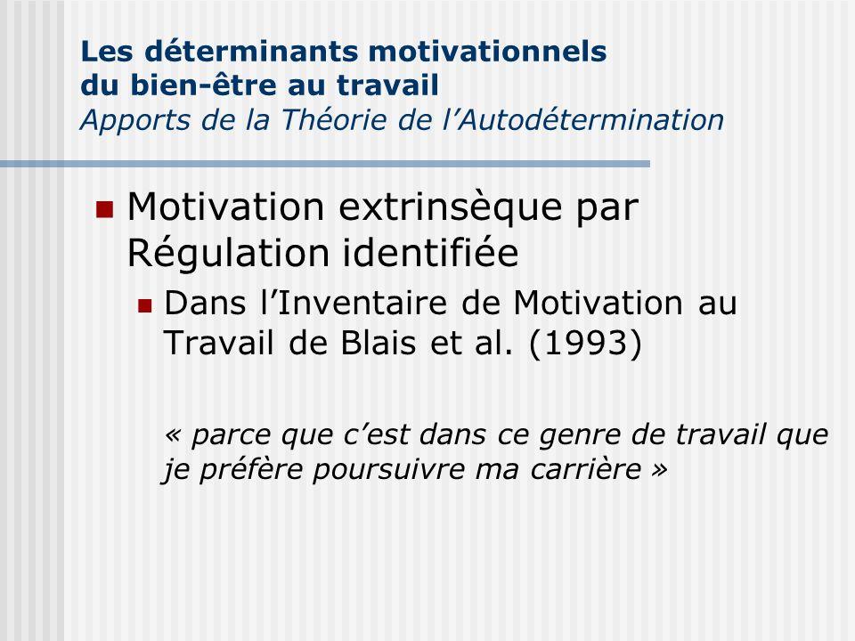 Motivation extrinsèque par Régulation identifiée Dans lInventaire de Motivation au Travail de Blais et al. (1993) « parce que cest dans ce genre de tr