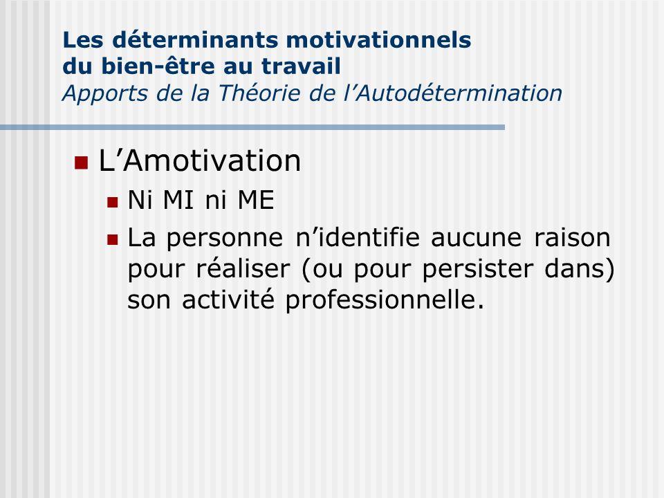 LAmotivation Ni MI ni ME La personne nidentifie aucune raison pour réaliser (ou pour persister dans) son activité professionnelle. Les déterminants mo