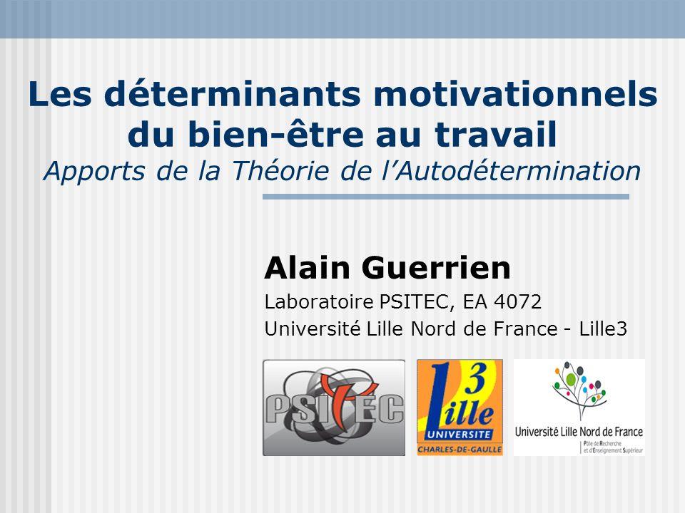 Les déterminants motivationnels du bien-être au travail Apports de la Théorie de lAutodétermination Alain Guerrien Laboratoire PSITEC, EA 4072 Univers