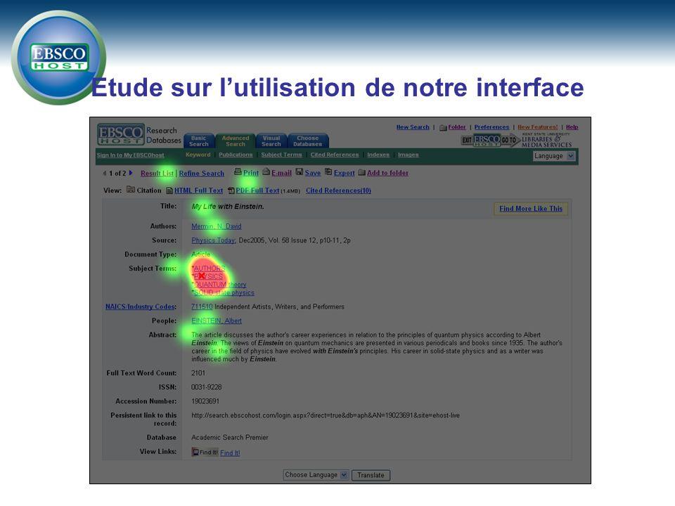 Etude sur lutilisation de notre interface
