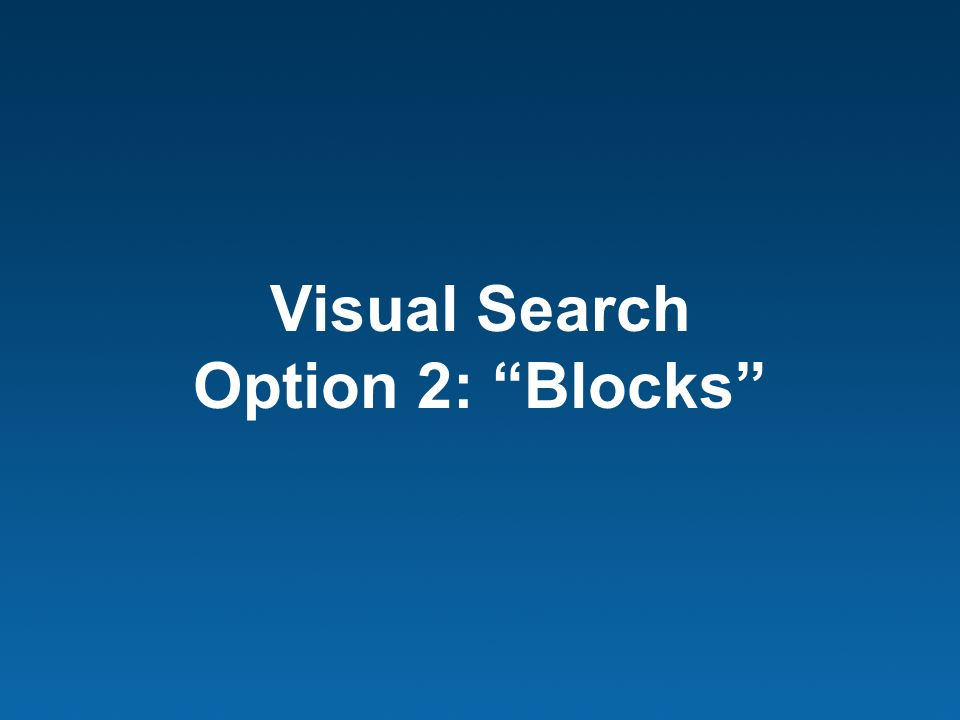 Visual Search Option 2: Blocks