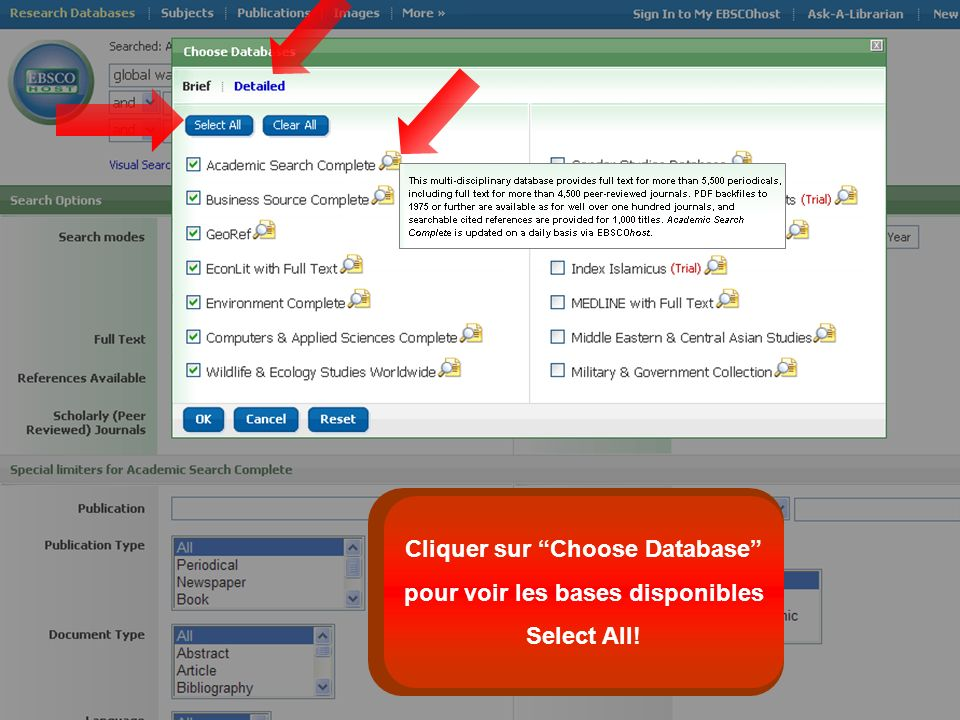 Cliquer sur Choose Database pour voir les bases disponibles Select All!