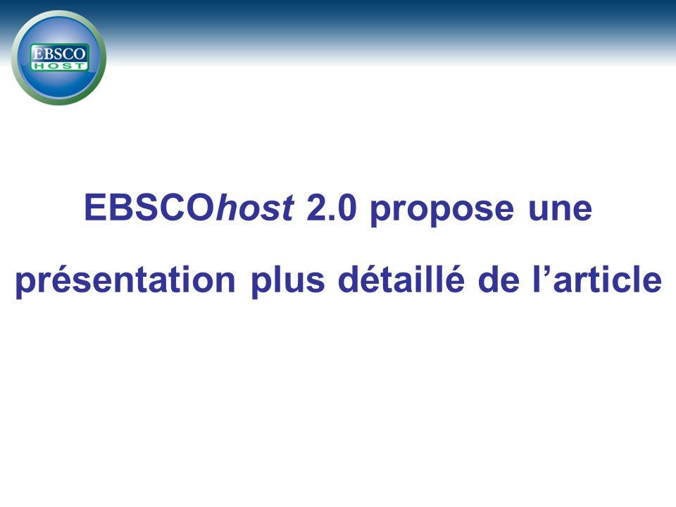 EBSCOhost 2.0 propose une présentation plus détaillé de larticle