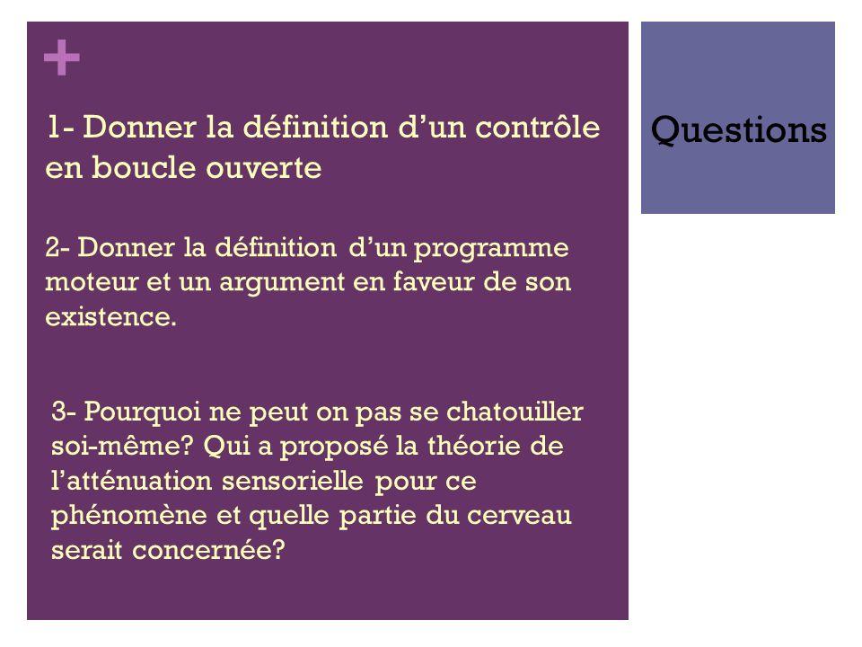 + 1- Donner la définition dun contrôle en boucle ouverte Questions 2- Donner la définition dun programme moteur et un argument en faveur de son existe