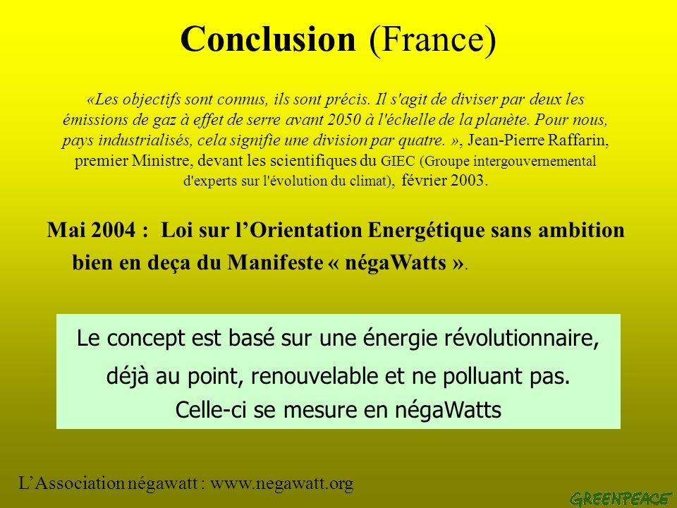 Conclusion (Monde) 1992 (Rio) : convention sur le climat (1 er sommet de la Terre) 1997 (Rio+5) : objectifs chiffrés de réduction démission de GES par