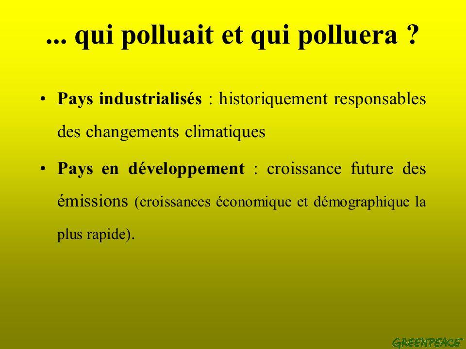 Qui pollue,... Aujourdhui (1995) : un étasunien émet 27 à 54 fois plus de CO2 quun habitant dun PVD. Un français 8 à 17 fois plus.