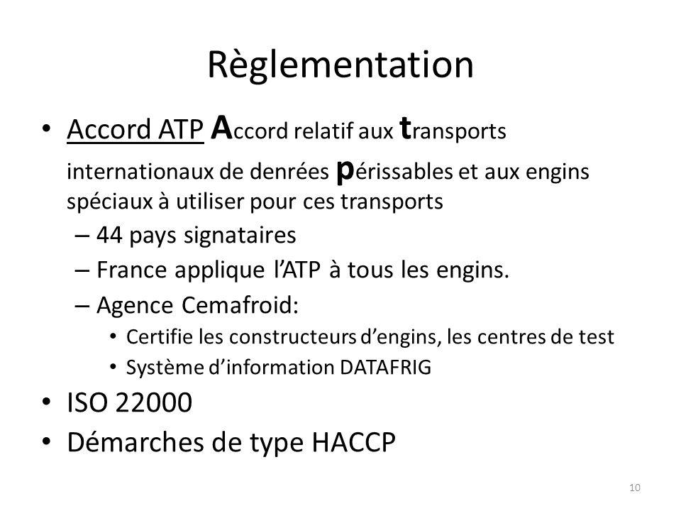 10 Règlementation Accord ATP A ccord relatif aux t ransports internationaux de denrées p érissables et aux engins spéciaux à utiliser pour ces transpo