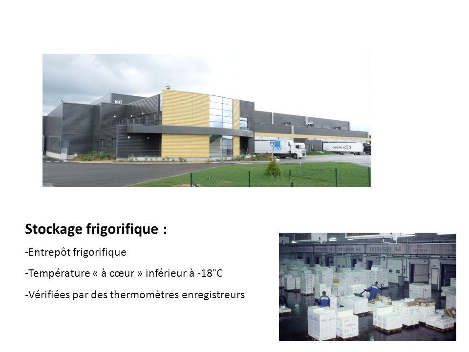 17 Stockage frigorifique : -Entrepôt frigorifique -Température « à cœur » inférieur à -18°C -Vérifiées par des thermomètres enregistreurs