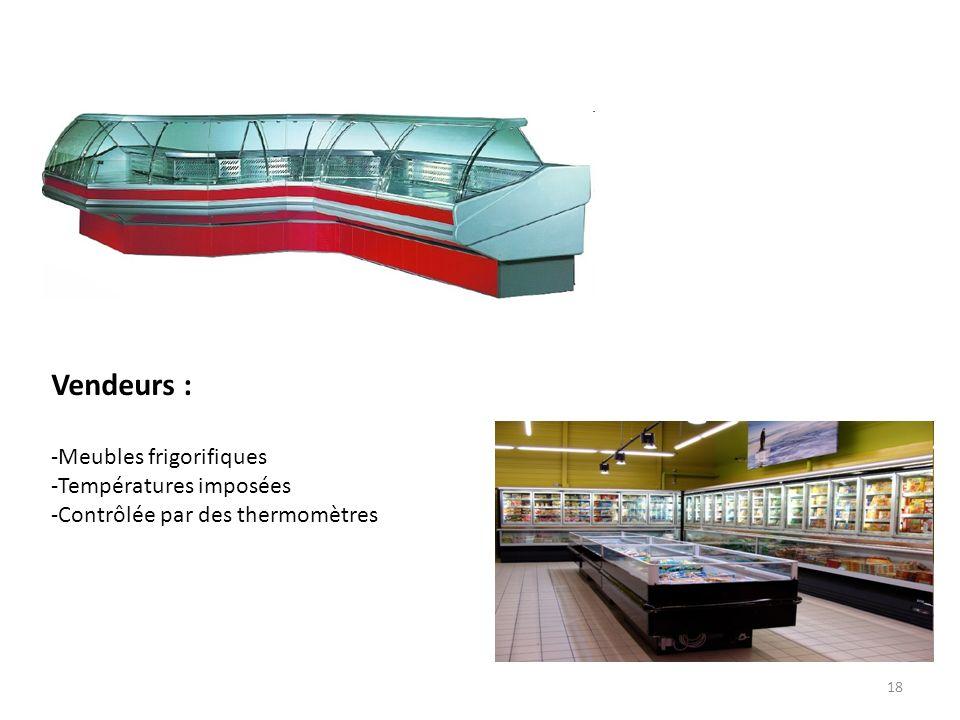 18 Vendeurs : -Meubles frigorifiques -Températures imposées -Contrôlée par des thermomètres