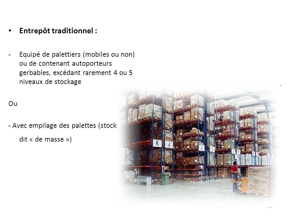 21 Entrepôt traditionnel : -Equipé de palettiers (mobiles ou non) ou de contenant autoporteurs gerbables, excédant rarement 4 ou 5 niveaux de stockage