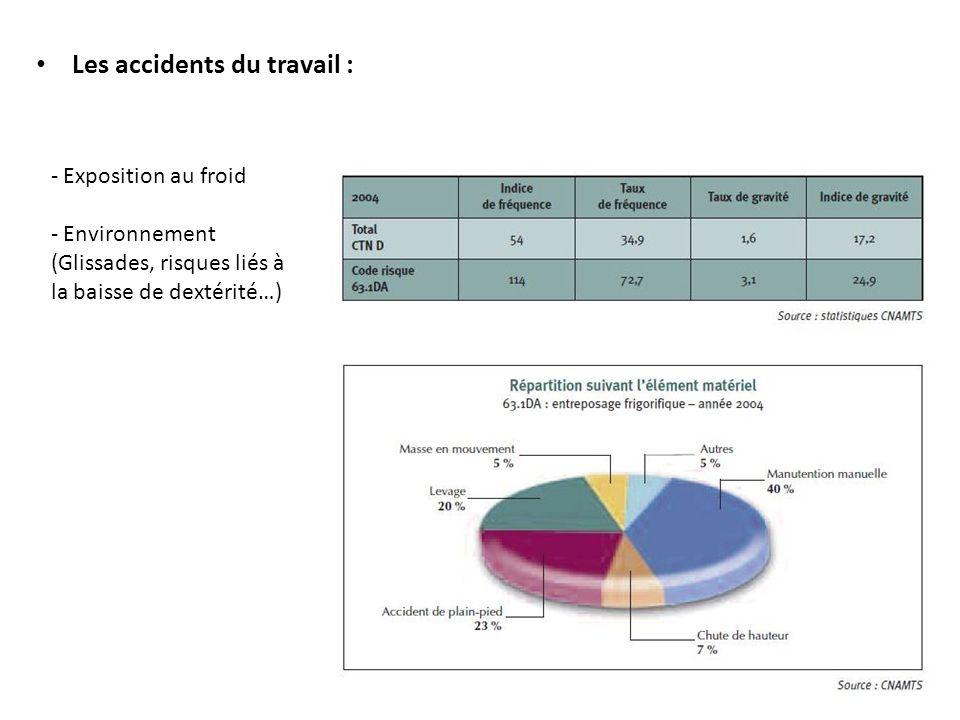 28 Les accidents du travail : - Exposition au froid - Environnement (Glissades, risques liés à la baisse de dextérité…)