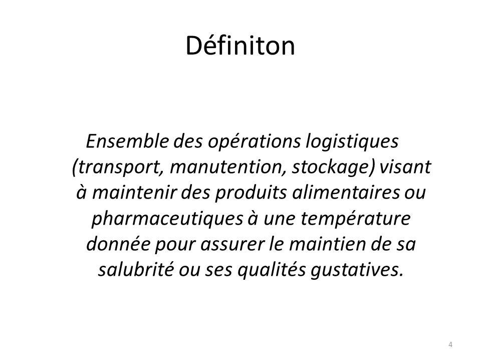 4 Définiton Ensemble des opérations logistiques (transport, manutention, stockage) visant à maintenir des produits alimentaires ou pharmaceutiques à u