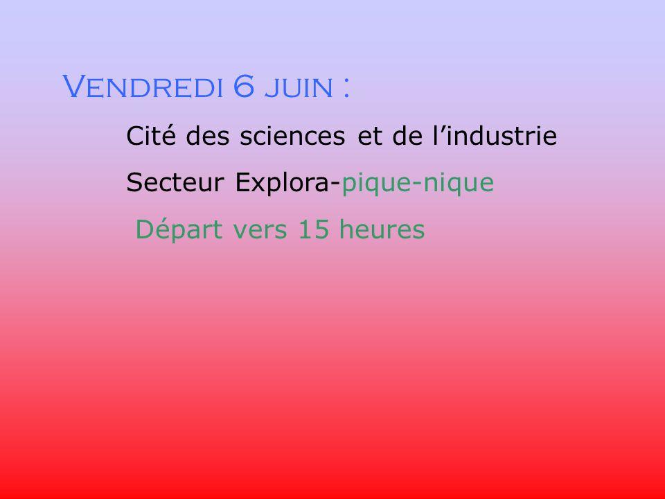 Vendredi 6 juin : Cité des sciences et de lindustrie Secteur Explora-pique-nique Départ vers 15 heures