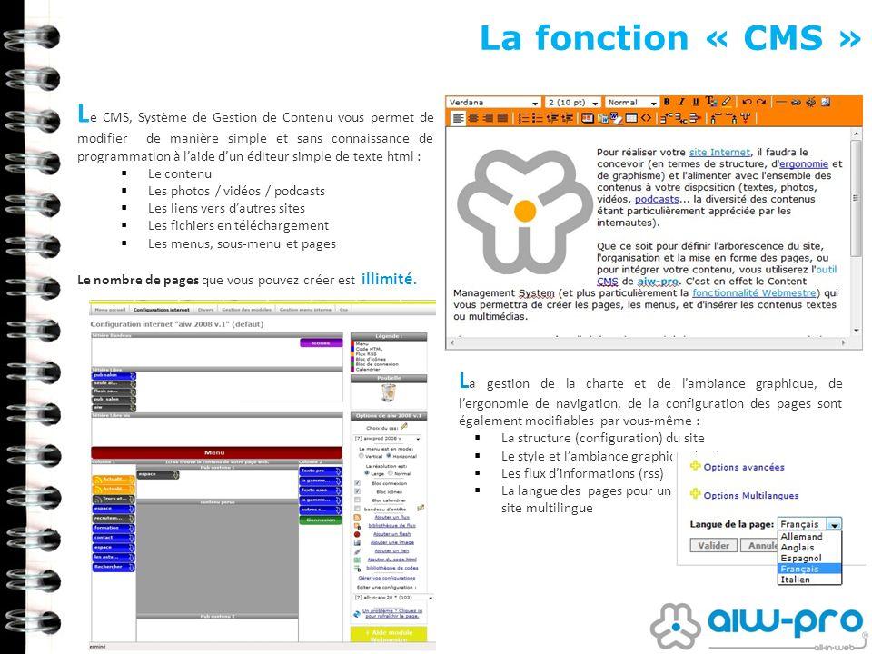 La fonction « CMS » L e CMS, Système de Gestion de Contenu vous permet de modifier de manière simple et sans connaissance de programmation à laide dun