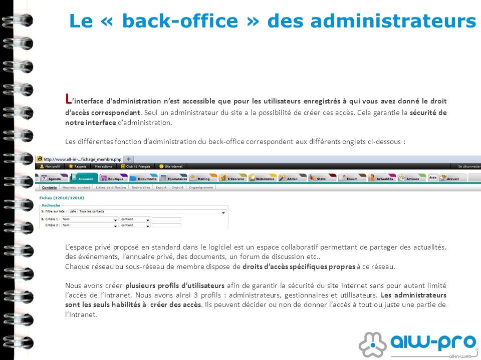 Le « back-office » des administrateurs L interface dadministration nest accessible que pour les utilisateurs enregistrés à qui vous avez donné le droi