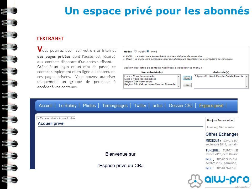Un espace privé pour les abonnés LEXTRANET V ous pourrez avoir sur votre site Internet des pages privées dont laccès est réservé aux contacts disposan