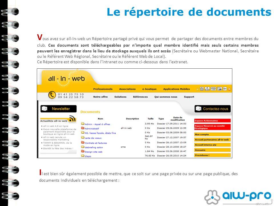 Le répertoire de documents V ous avez sur all-in-web un Répertoire partagé privé qui vous permet de partager des documents entre membres du club. Ces