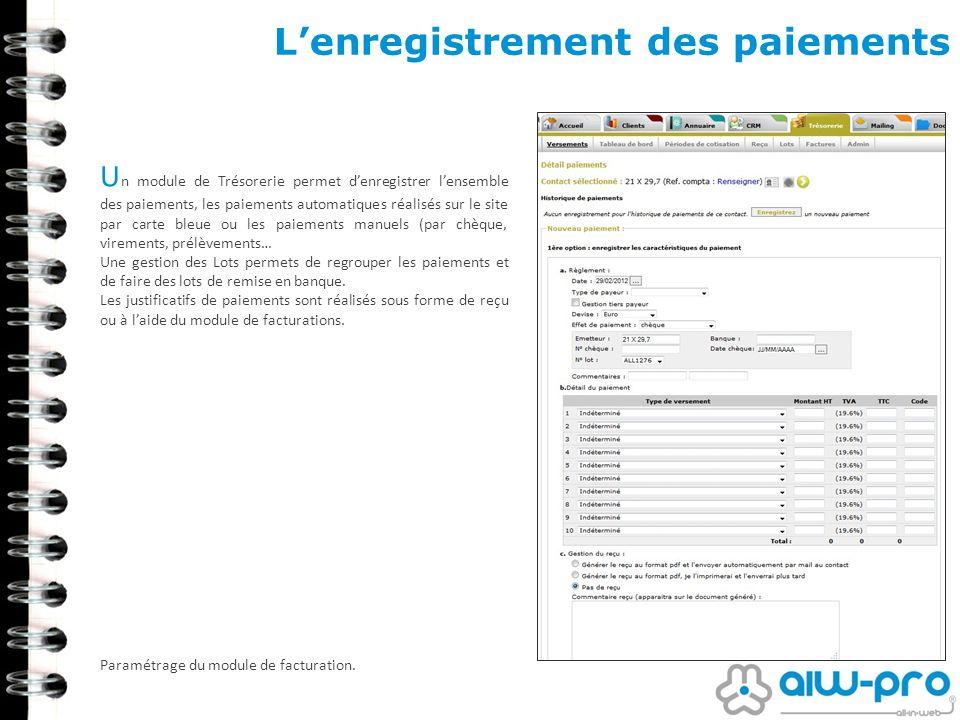 Lenregistrement des paiements U n module de Trésorerie permet denregistrer lensemble des paiements, les paiements automatiques réalisés sur le site pa