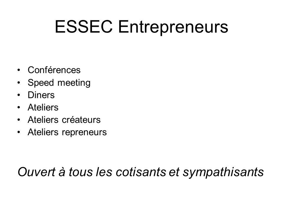 ESSEC Entrepreneurs Conférences Speed meeting Diners Ateliers Ateliers créateurs Ateliers repreneurs Ouvert à tous les cotisants et sympathisants