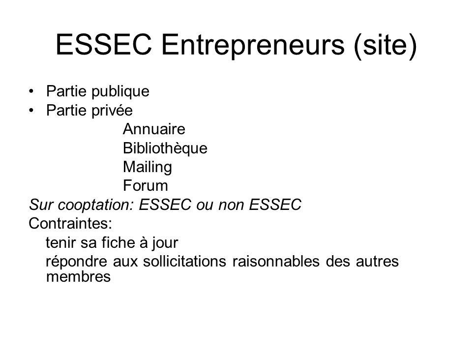 ESSEC Entrepreneurs (site) Partie publique Partie privée Annuaire Bibliothèque Mailing Forum Sur cooptation: ESSEC ou non ESSEC Contraintes: tenir sa