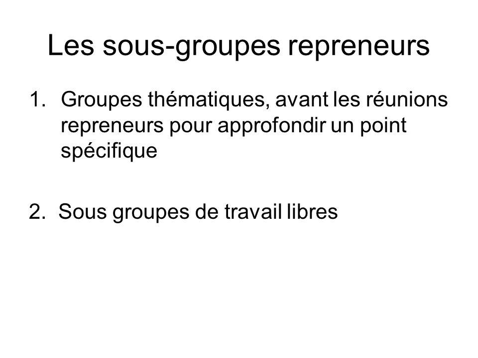 Les sous-groupes repreneurs 1.Groupes thématiques, avant les réunions repreneurs pour approfondir un point spécifique 2. Sous groupes de travail libre