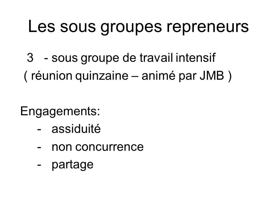 Les sous groupes repreneurs 3 - sous groupe de travail intensif ( réunion quinzaine – animé par JMB ) Engagements: - assiduité - non concurrence - par