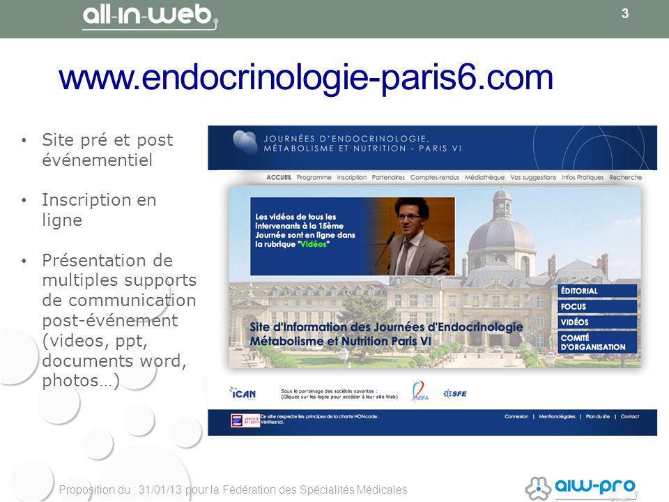 Proposition du : 31/01/13 pour la Fédération des Spécialités Médicales www.