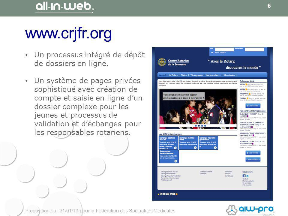 Proposition du : 31/01/13 pour la Fédération des Spécialités Médicales www.crjfr.org 6 Un processus intégré de dépôt de dossiers en ligne.