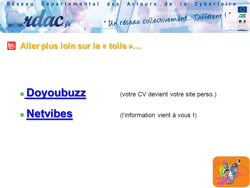 Aller plus loin sur la « toile »… Doyoubuzz Doyoubuzz Doyoubuzz Doyoubuzz (votre CV devient votre site perso.) Netvibes Netvibes Netvibes (linformation vient à vous !) Netvibes