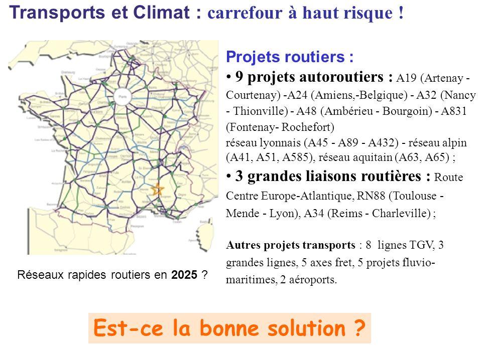 Transports et Climat : carrefour à haut risque .Réseaux rapides routiers en 2025 .