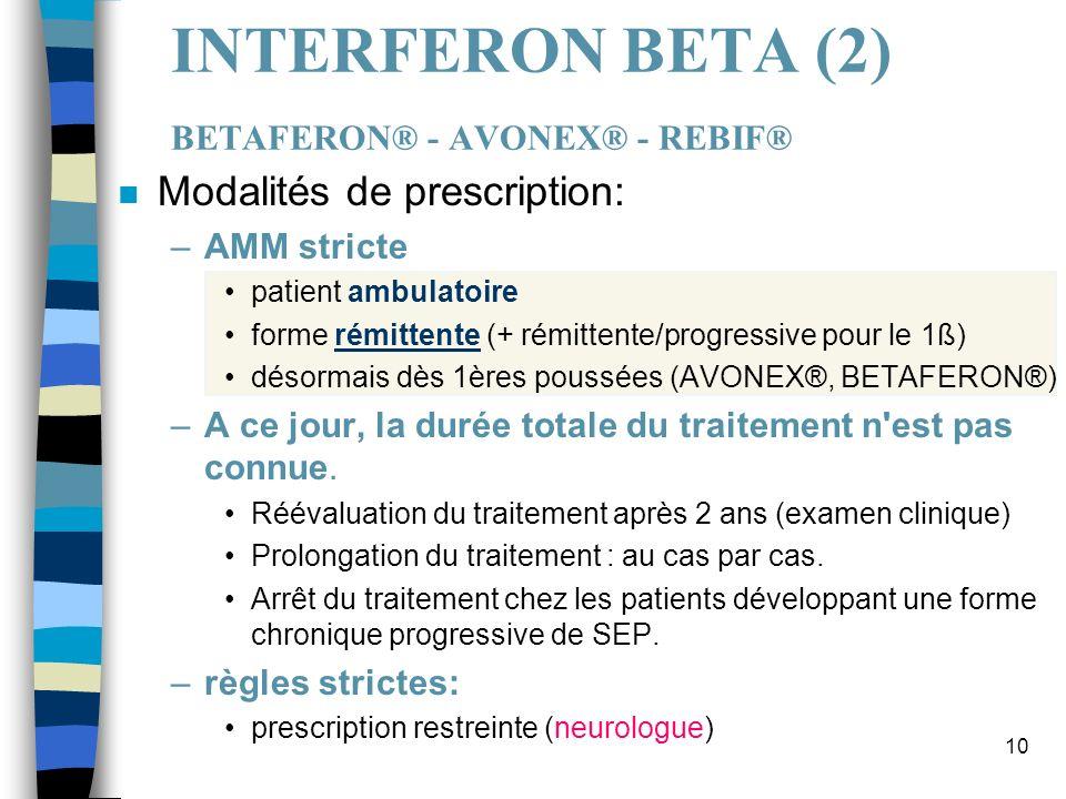 10 INTERFERON BETA (2) BETAFERON® - AVONEX® - REBIF® n Modalités de prescription: –AMM stricte patient ambulatoire forme rémittente (+ rémittente/prog