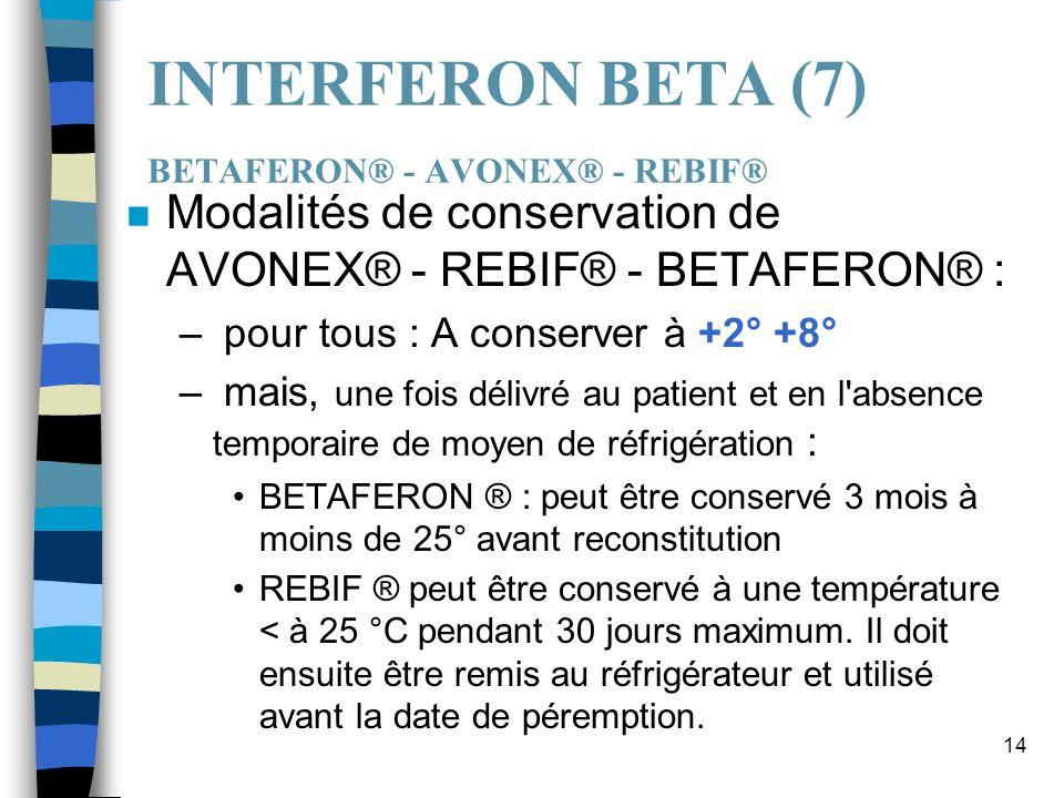 14 INTERFERON BETA (7) BETAFERON® - AVONEX® - REBIF® n Modalités de conservation de AVONEX® - REBIF® - BETAFERON® : – pour tous : A conserver à +2° +8