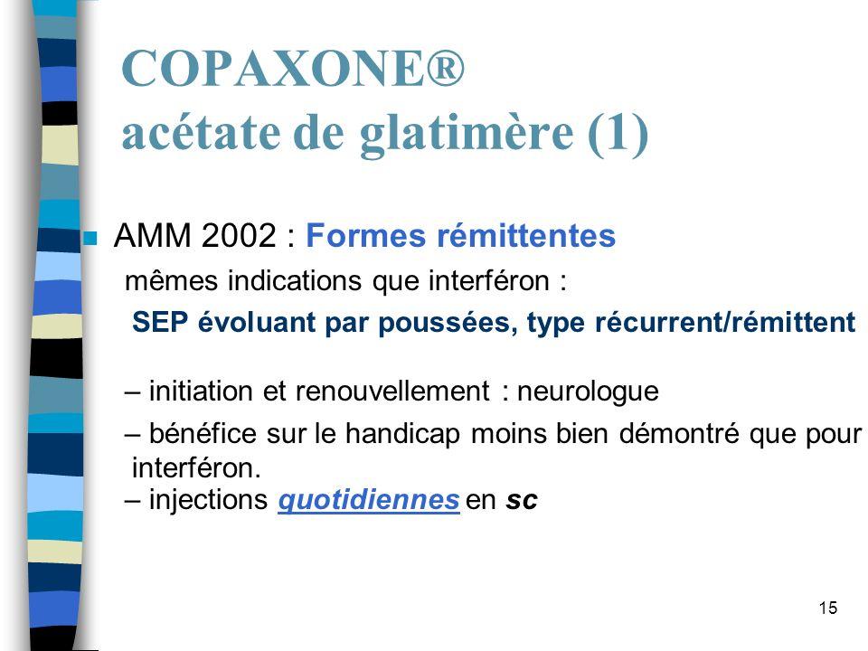 15 COPAXONE® acétate de glatimère (1) n AMM 2002 : Formes rémittentes mêmes indications que interféron : SEP évoluant par poussées, type récurrent/rém